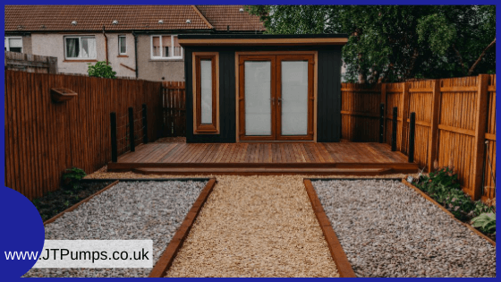 garden office that requires a sewage pumping station